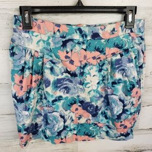 3/$15 floral skirt pockets pleated mini blue pink